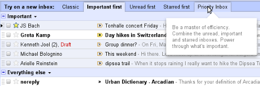 gmail preference tabs